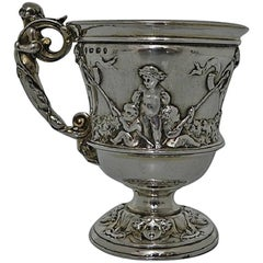 Victorian, 19th Century Antique Silver Christening Mug Fredrick Elkington