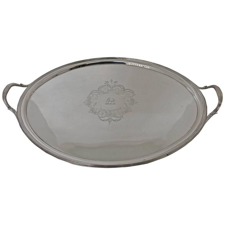 George III 19th Century Silver Tea Tray London, 1800, Solomon Hougham For Sale