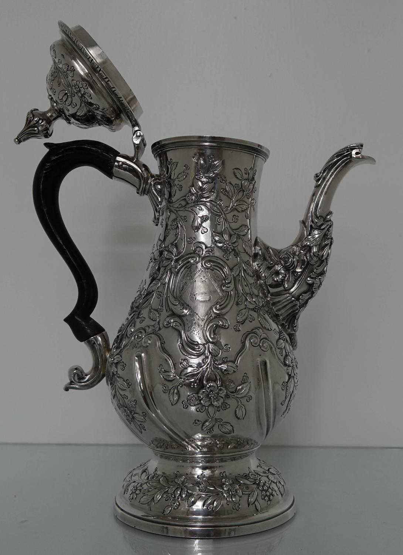 Georgian Silver 18th Century Rococo Coffee Pot London 1769