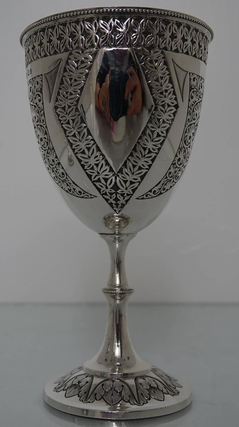 Antique Victorian 19th Century Pair Silver Wine Goblets