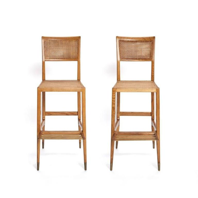 These rare and wonderful bar stools were designed for the Casino of San Remo in 1950 by Italian modernist master Gio Ponti. Sold with a certificate of authentication from the Ponti foundation.