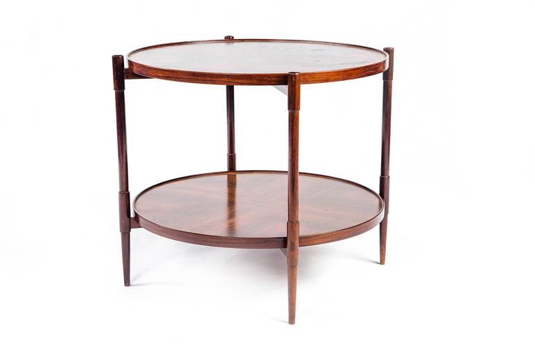 Original two-tiered rosewood (Jacaranda) side table with reverse diamond match veneer designed by Brazilian modernist Joaquim Tenreiro.