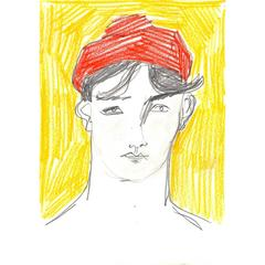 'Boy in a Red Hat' Painting Original Artwork
