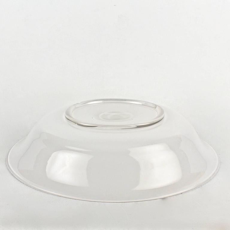 20th Century White Glass Opalini Bowl by Venini For Sale