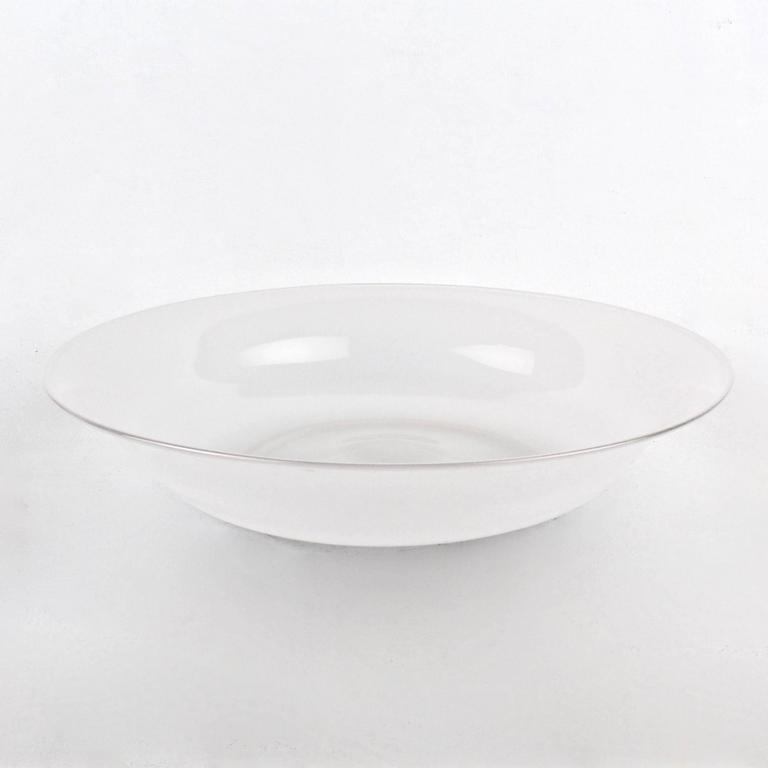 A rare large opaque white glass footed bowl by Venini.