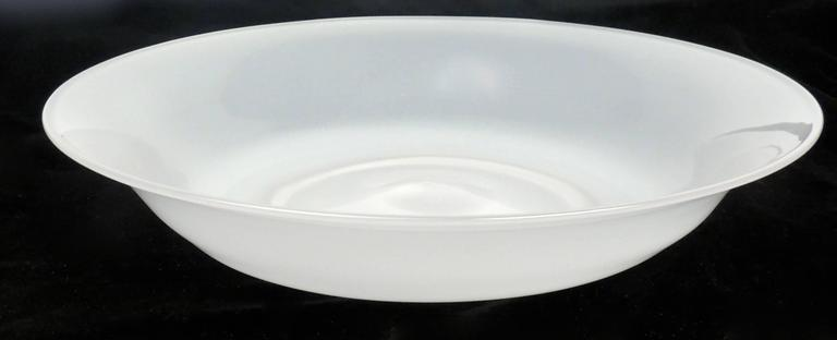 Mid-Century Modern White Glass Opalini Bowl by Venini For Sale