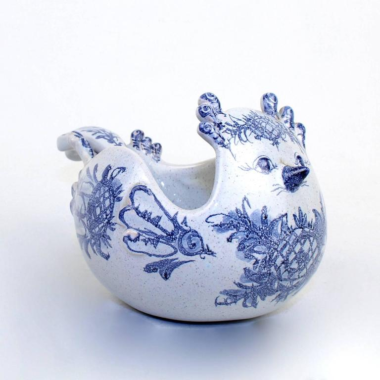 Danish Bjorn Wiinblad Studio Pottery Figural Bird Bowl & Serving Spoon Set, 1960 For Sale