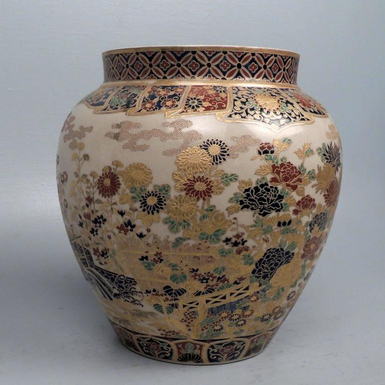 Large 19th Century Signed Japanese Imperial Satsuma Pottery Vase