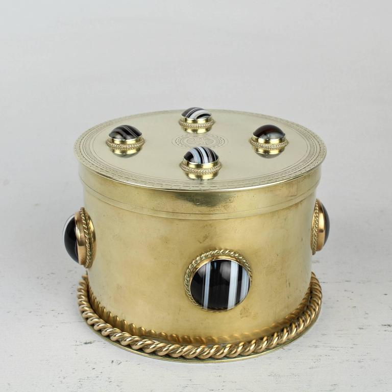 High Victorian 19th Century Round English Men's Dresser Box with Banded Agate Cabochons For Sale