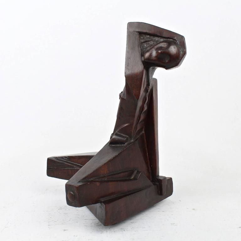 Cubist Wood Sculpture Of A Nude By Russian American
