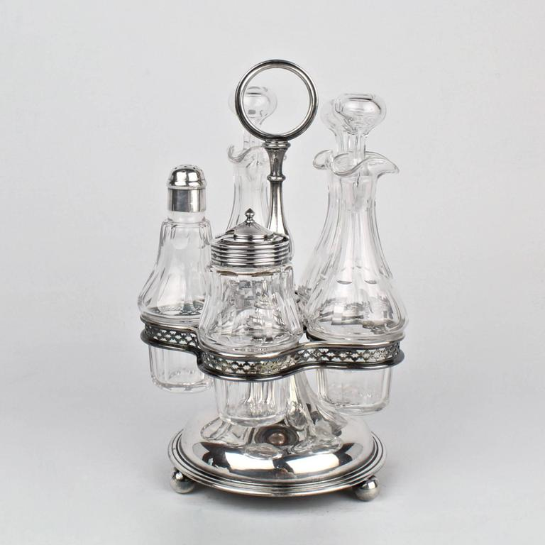 christofle silver plate and baccarat crystal cruet set and stand at 1stdibs. Black Bedroom Furniture Sets. Home Design Ideas