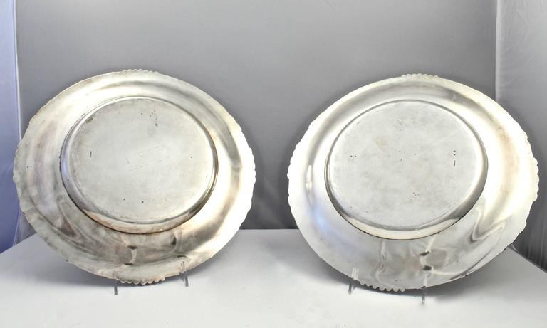 20th Century Pair of Dutch Art Nouveau Sterling Silver Platters with Cattails by Ph Saakes For Sale