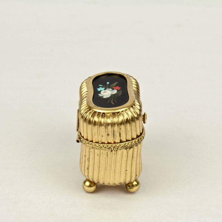 19th Century Small Victorian Gilt Metal Dresser or Ring Box with a Pietra Dura Plaque For Sale