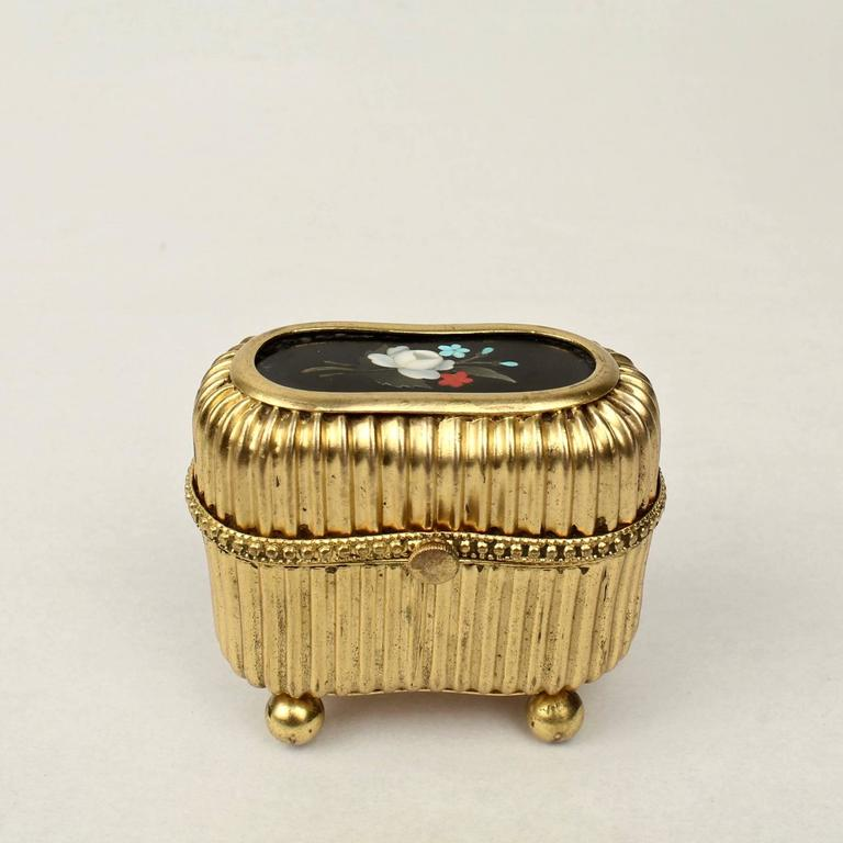 Small Victorian Gilt Metal Dresser or Ring Box with a Pietra Dura Plaque In Good Condition For Sale In Philadelphia, PA