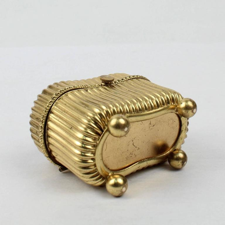 Small Victorian Gilt Metal Dresser or Ring Box with a Pietra Dura Plaque For Sale 3
