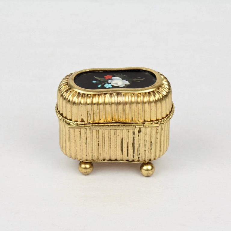 Belle Époque Small Victorian Gilt Metal Dresser or Ring Box with a Pietra Dura Plaque For Sale