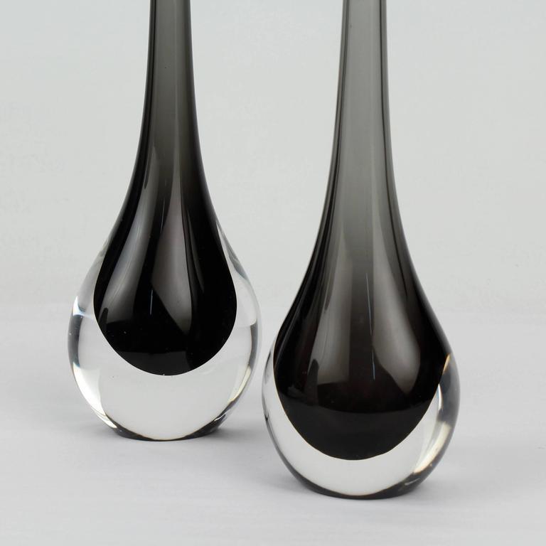Italian Pair of Mid-Century Cenedese Sommerso Murano Glass Flower Vases, 20th Century For Sale