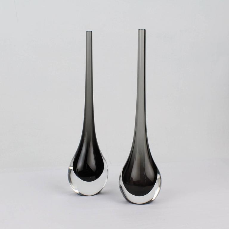 Mid-Century Modern Pair of Mid-Century Cenedese Sommerso Murano Glass Flower Vases, 20th Century For Sale