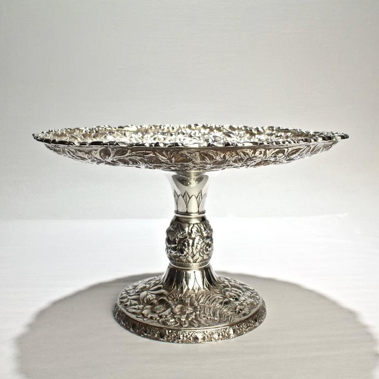 American Antique Tiffany Co Fl Repousse Sterling Silver Tazza Or Cake Stand For