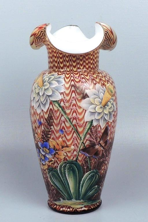 English Victorian Art Glass Vase With Enameled Flowers By Stevens
