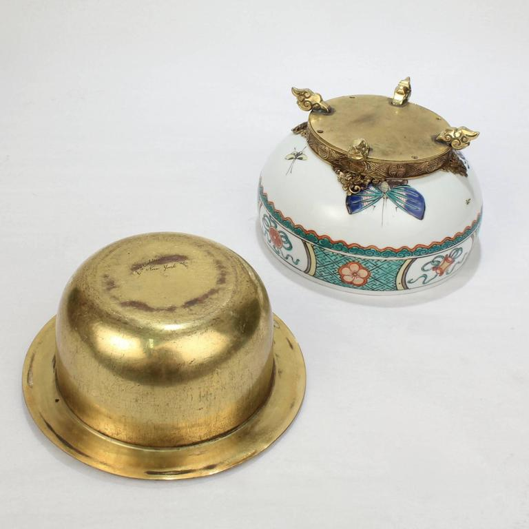 Gilded Age E F Caldwell Bronze-Mounted Chinese Export Porcelain Ashtray For Sale 2