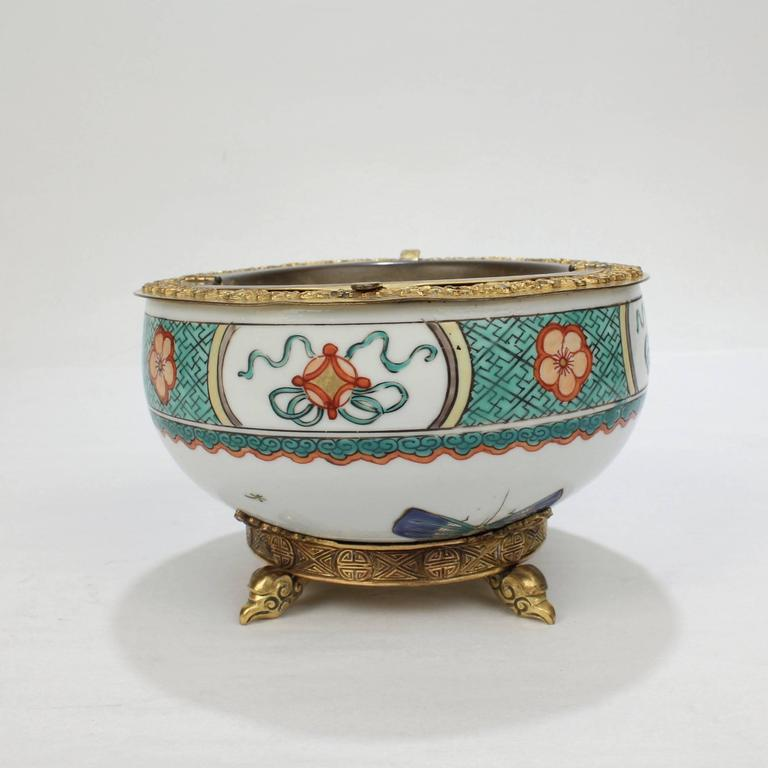 American Gilded Age E F Caldwell Bronze-Mounted Chinese Export Porcelain Ashtray For Sale