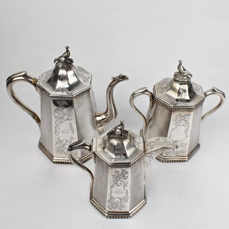 19th Century Wood and Hughes New York Coin Silver Tea Set For Sale 5