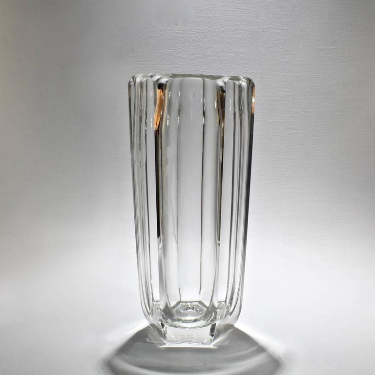 Swedish Large Faceted Art Deco Vase with Engraved Mercury by Elis Bergh for Kosta Boda For Sale
