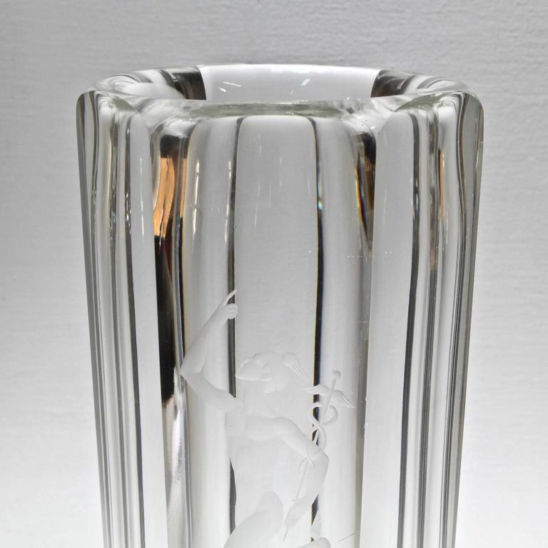 Art Glass Large Faceted Art Deco Vase with Engraved Mercury by Elis Bergh for Kosta Boda For Sale