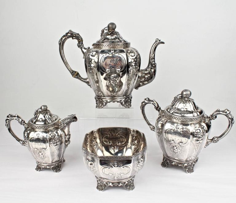 19th Century Four-Piece Wood and Hughes Repousse New York Coin Silver Tea Set For Sale 1
