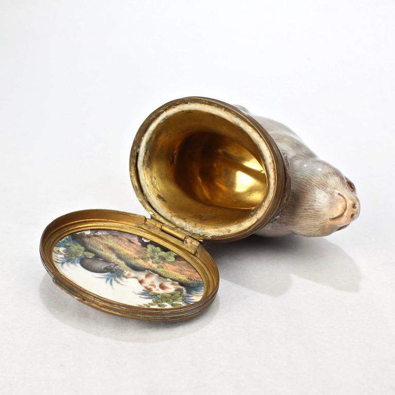 18th Century and Earlier Antique 18th Century Mennecy Figural Mouse Snuff or Patch Box For Sale