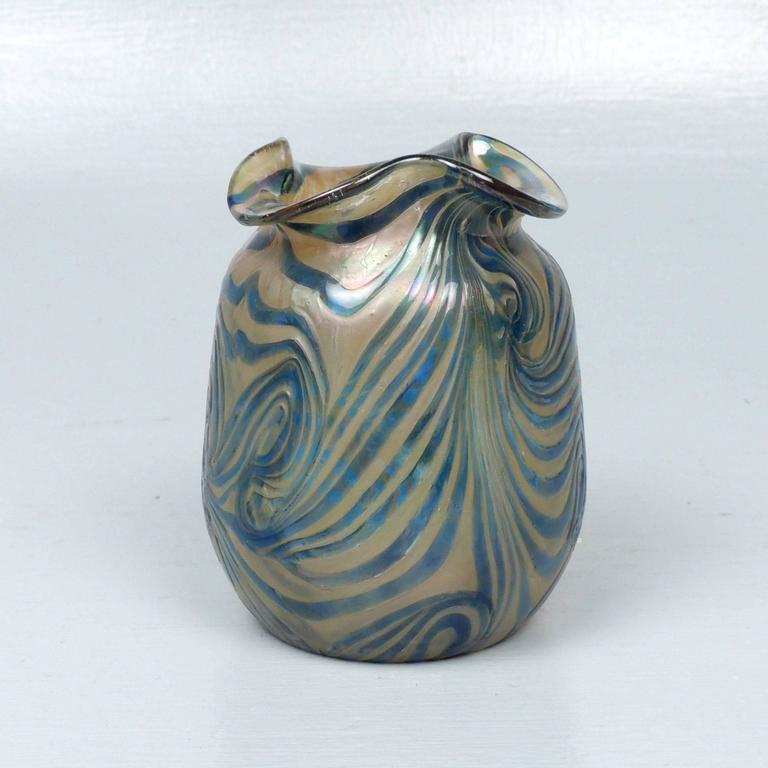 Art Nouveau Kralik Glassworks Loetz Type Blue On Gold Art Glass Vase