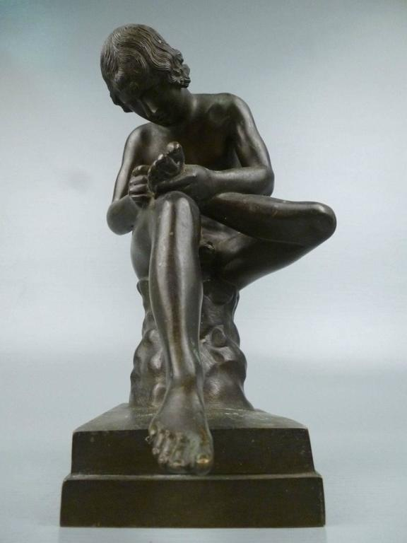 Grand Tour Bronze Sculpture of Spinario the Thorn Picker For Sale 3