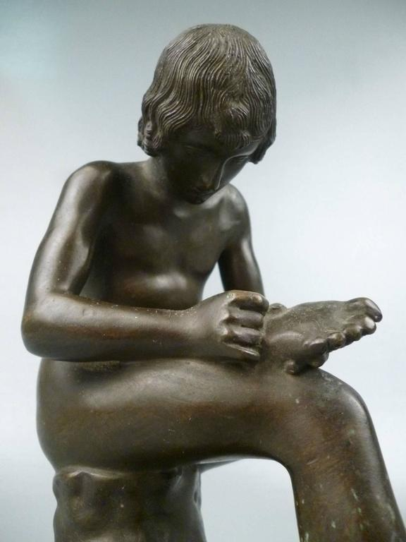 Grand Tour Bronze Sculpture of Spinario the Thorn Picker For Sale 4