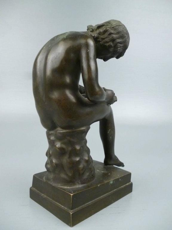 Grand Tour Bronze Sculpture of Spinario the Thorn Picker For Sale 1