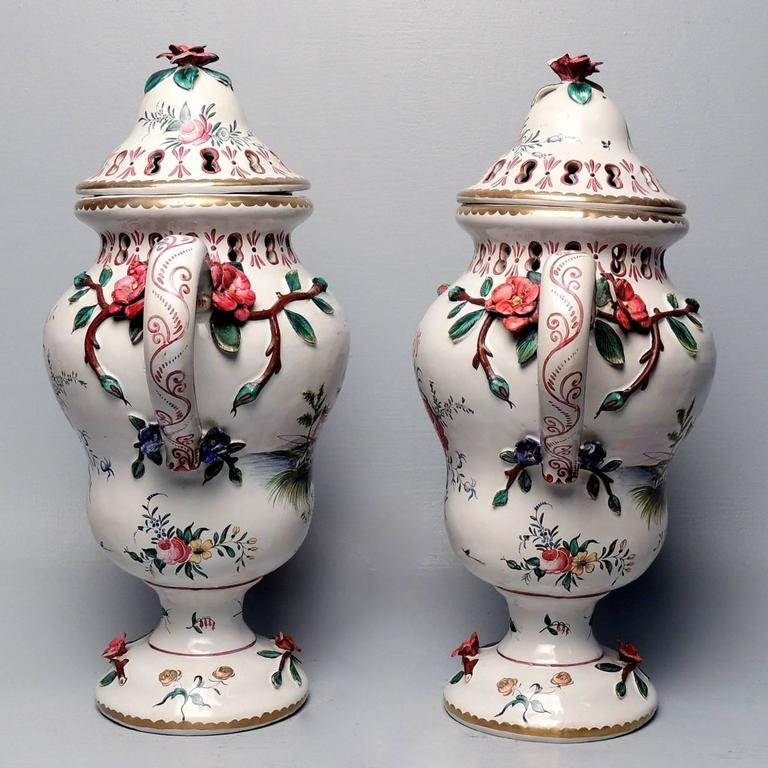 Pair of large veuve perrin french faience majolica lidded urns or vases for sale at 1stdibs - Large decorative vases and urns ...