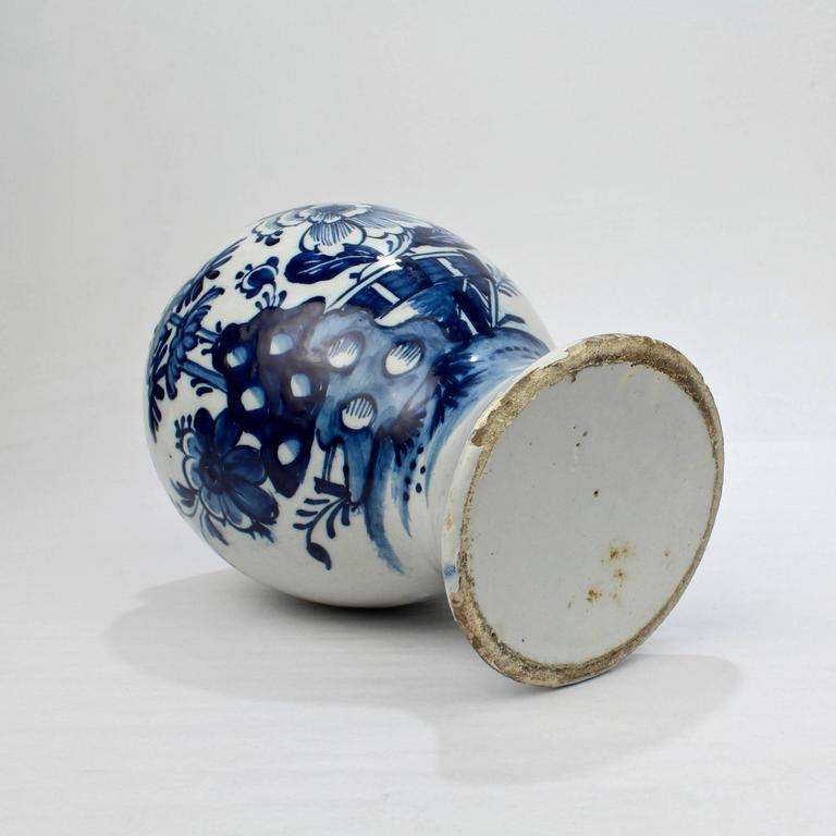 18th Century Tin Glazed Dutch Delft Pottery Blue and White Vase or Jar For Sale 2