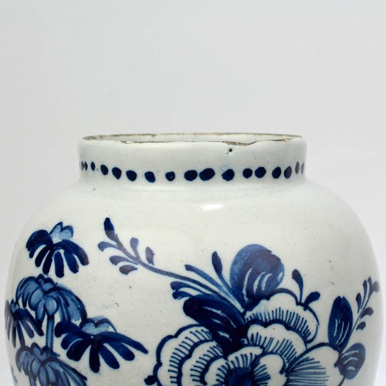 18th Century Tin Glazed Dutch Delft Pottery Blue and White Vase or Jar For Sale 4