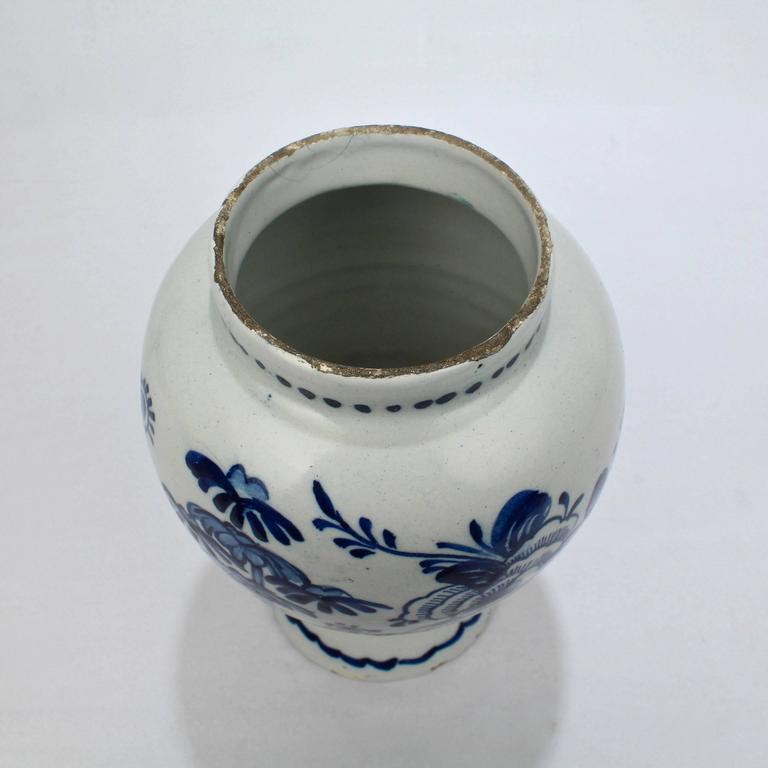18th Century and Earlier 18th Century Tin Glazed Dutch Delft Pottery Blue and White Vase or Jar For Sale