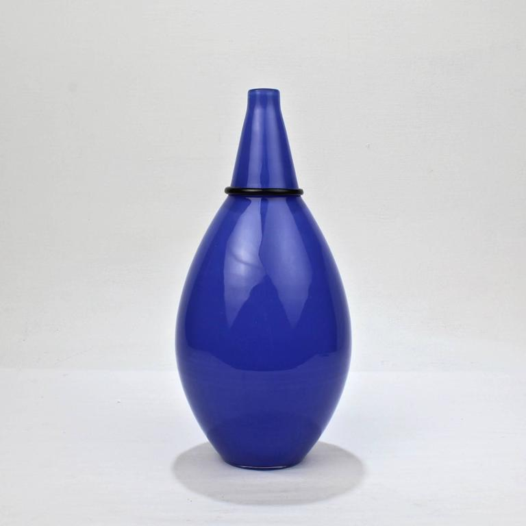 A very good Murano glass vase by Lino Tagliapietra and Marina Angelin with Effetre International for Oggetti. 