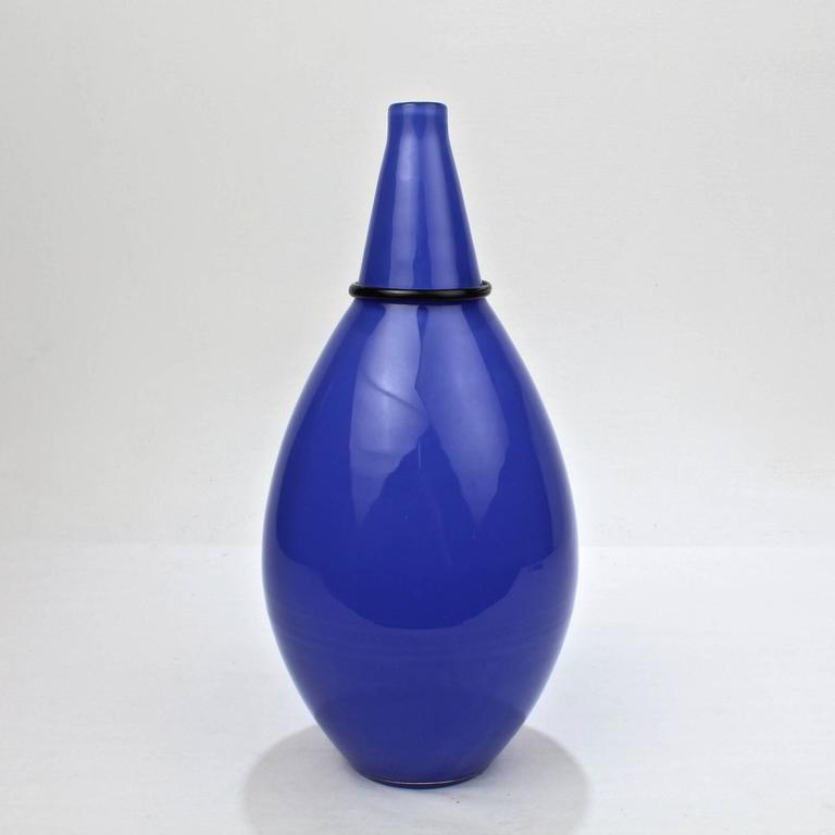 Italian Blue Murano Glass Vase by Tagliapietra & Angelin for Effetre International, 1985 For Sale
