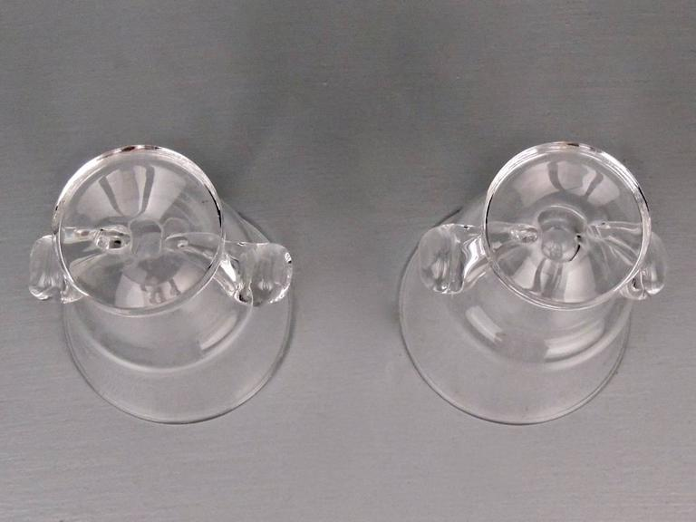 Pair of Mid-Century Modern Steuben Glass Scroll Handle Vases by George Thompson 1