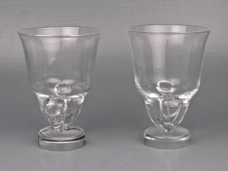 American Pair of Mid-Century Modern Steuben Glass Scroll Handle Vases by George Thompson