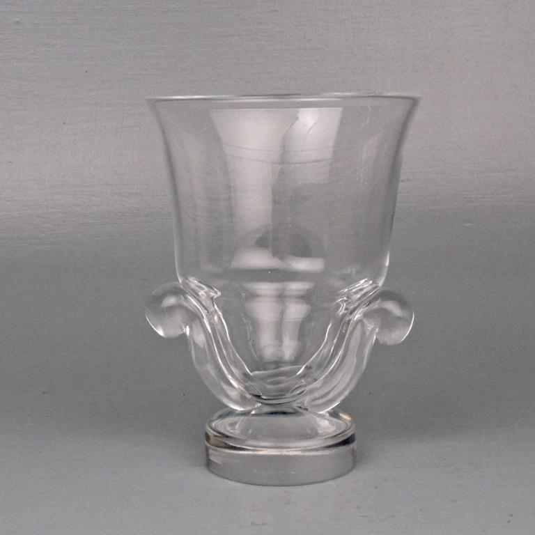 20th Century Pair of Mid-Century Modern Steuben Glass Scroll Handle Vases by George Thompson