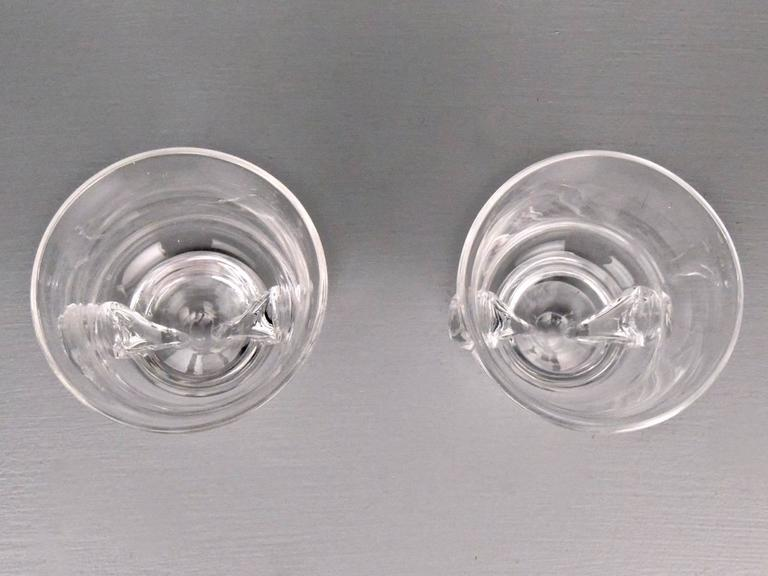 Art Glass Pair of Mid-Century Modern Steuben Glass Scroll Handle Vases by George Thompson