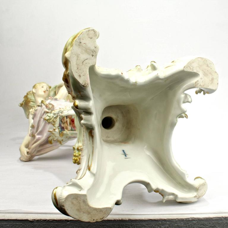Antique Royal Berlin KPM Figural Porcelain Candlestick with Weichmalerei Decor For Sale 4
