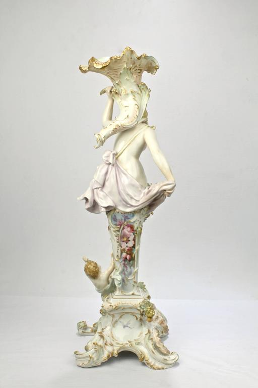 Antique Royal Berlin Kpm Figural Porcelain Candlestick
