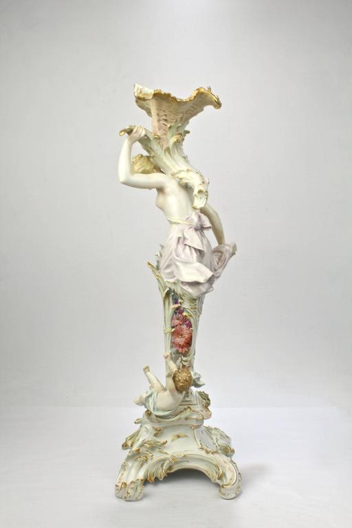 German Antique Royal Berlin KPM Figural Porcelain Candlestick with Weichmalerei Decor For Sale