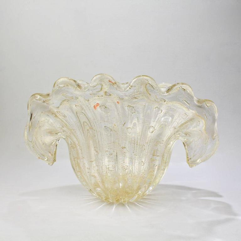 Large barovier mid century murano italian art glass clam