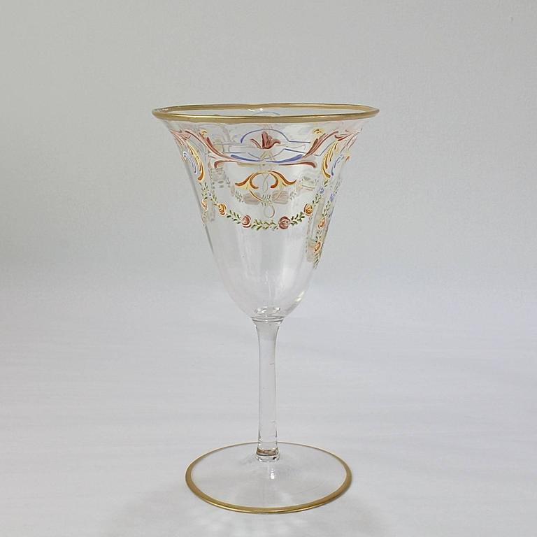 Set of 12 Enameled Venetian Glass Wine or Water Goblets, 1930s In Good Condition For Sale In Philadelphia, PA